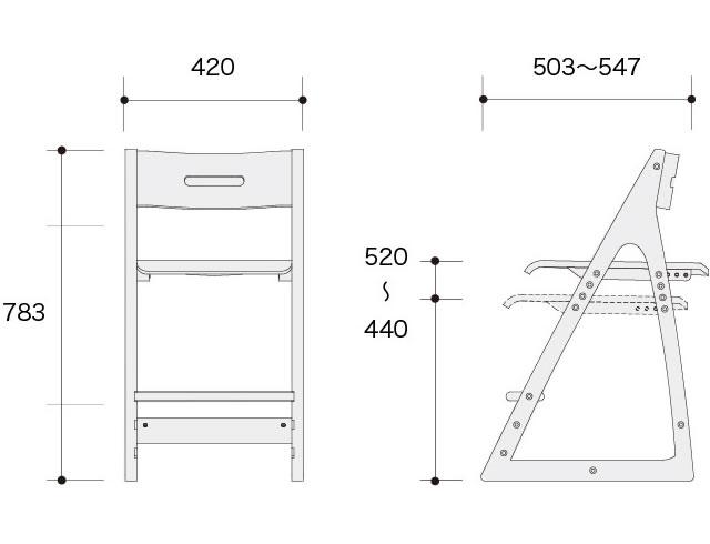 ヴィチーノ VICINO 木製チェア 865JCC-WG37 865JCC-WG38 幅420×奥行き503〜547×高さ783mm、座面の高さ440〜520mm