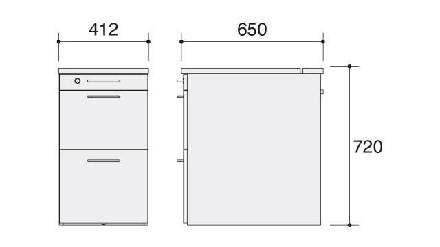 ラトリオ Latorio サイドチェスト 86NC4C-WH77 86NC4C-WH78 約幅412×奥行き650×高さ720mm
