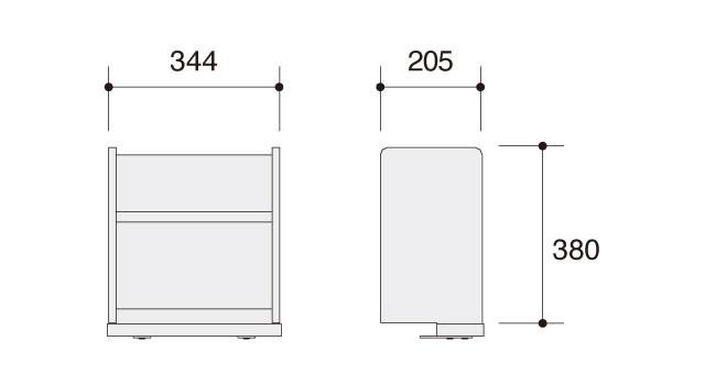 ラトリオ Latorio 上棚ユニット 86NC3B-WG37 86NC3B-WG38 約幅344×奥行き205×高さ380mm(天板面から高さ355mm)