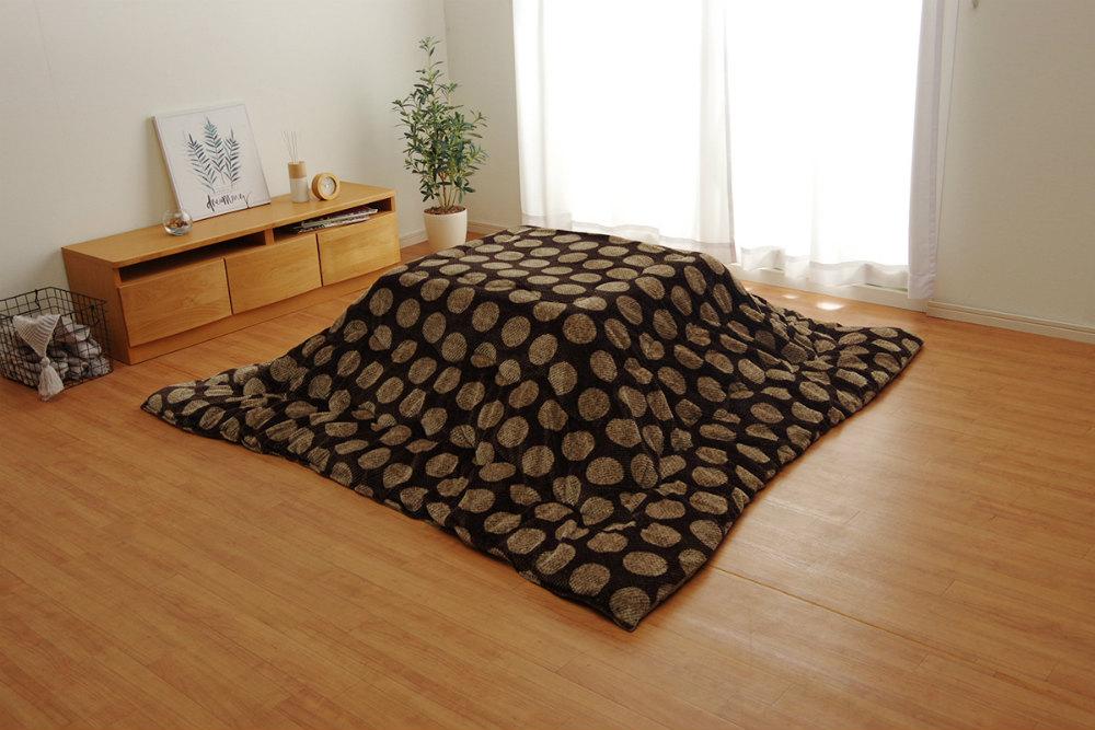 シンプルなドットデザイン!ふんわりやわらかなこたつ掛け布団 長方形 正方形 単品