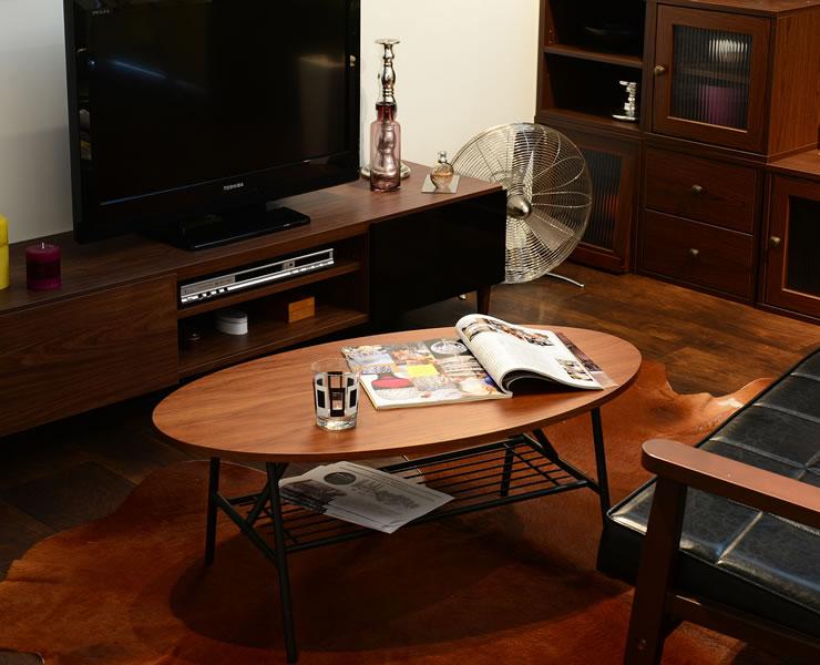 オーバルタイプのリビングテーブル リピオン Repon 棚付テーブル90(オーバル) RE35-90TO ブラウン 佐藤産業