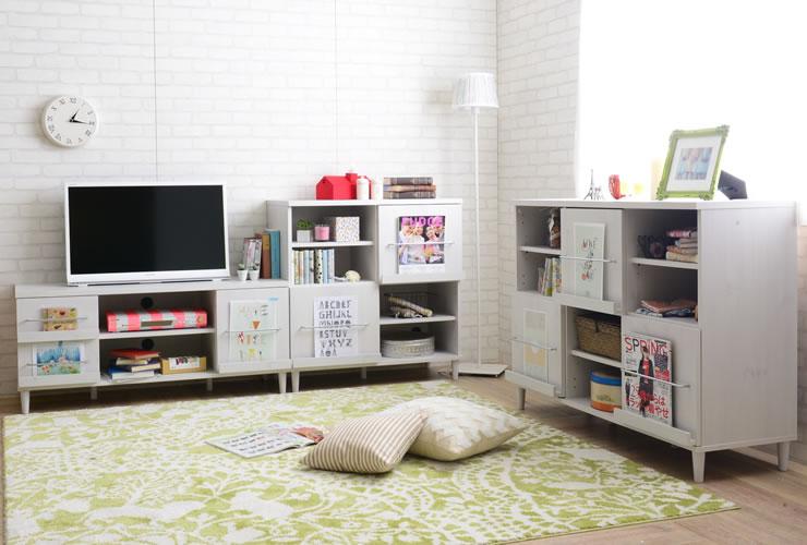 レア ホワイト 佐藤産業 見せる収納家具 隠す収納家具