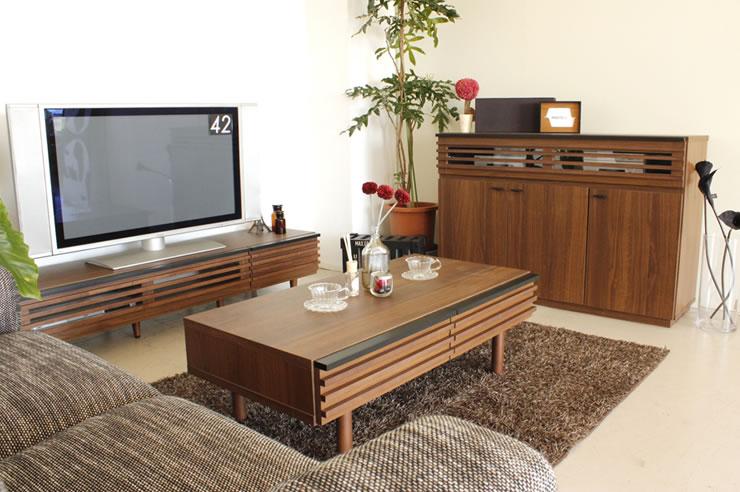 シンプルなルーバー仕上げ 和室・洋室どちらにもなじむシンプルデザイン 日本製テレビボード レオン 150ローボード TVボード