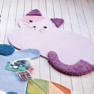 かわいい動物たちのふわふわラグマット キティ