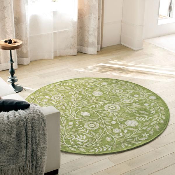 明るいグリーン色のゴブラン織ラグ アイヴィー