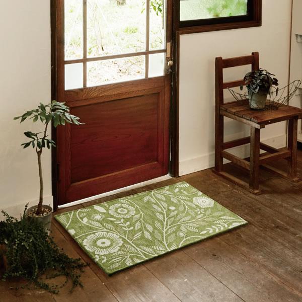 明るいグリーン色のゴブラン織マット アイヴィー